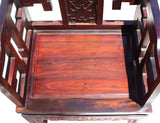 Vintage Chinese Reddish Brown Rosewood Carved Armchair Set vs939S