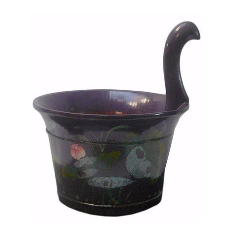 Chinese Purple Color Floral Round Wood Bucket