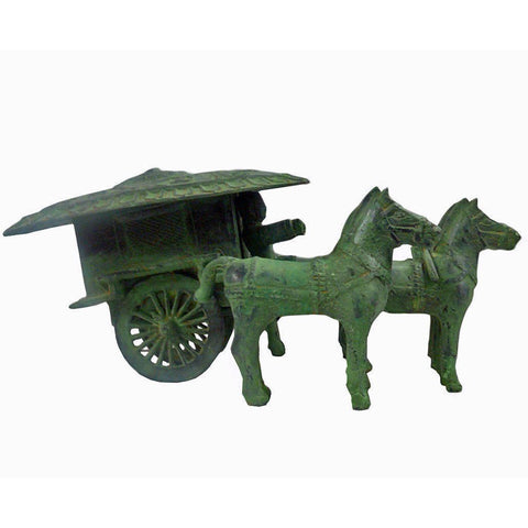 Ancient Chinese Green Bronze-ware Warrior Horse Wagon