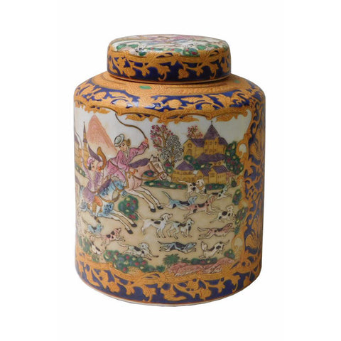 Oriental Porcelain People & Dominos Puppy Container Box