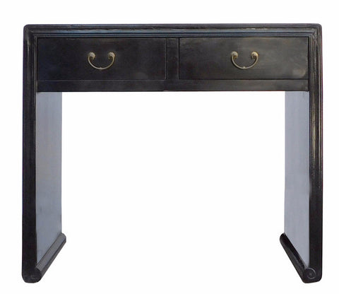 Chinese Oriental Black Lacquer Two Drawers Side Table w218S