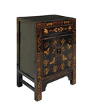 Chinese Black Golden Butterflies Oriental Graphic Side Table Cabinet w222S