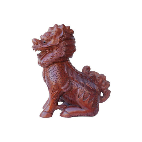 wood carved feng shui dragon statue