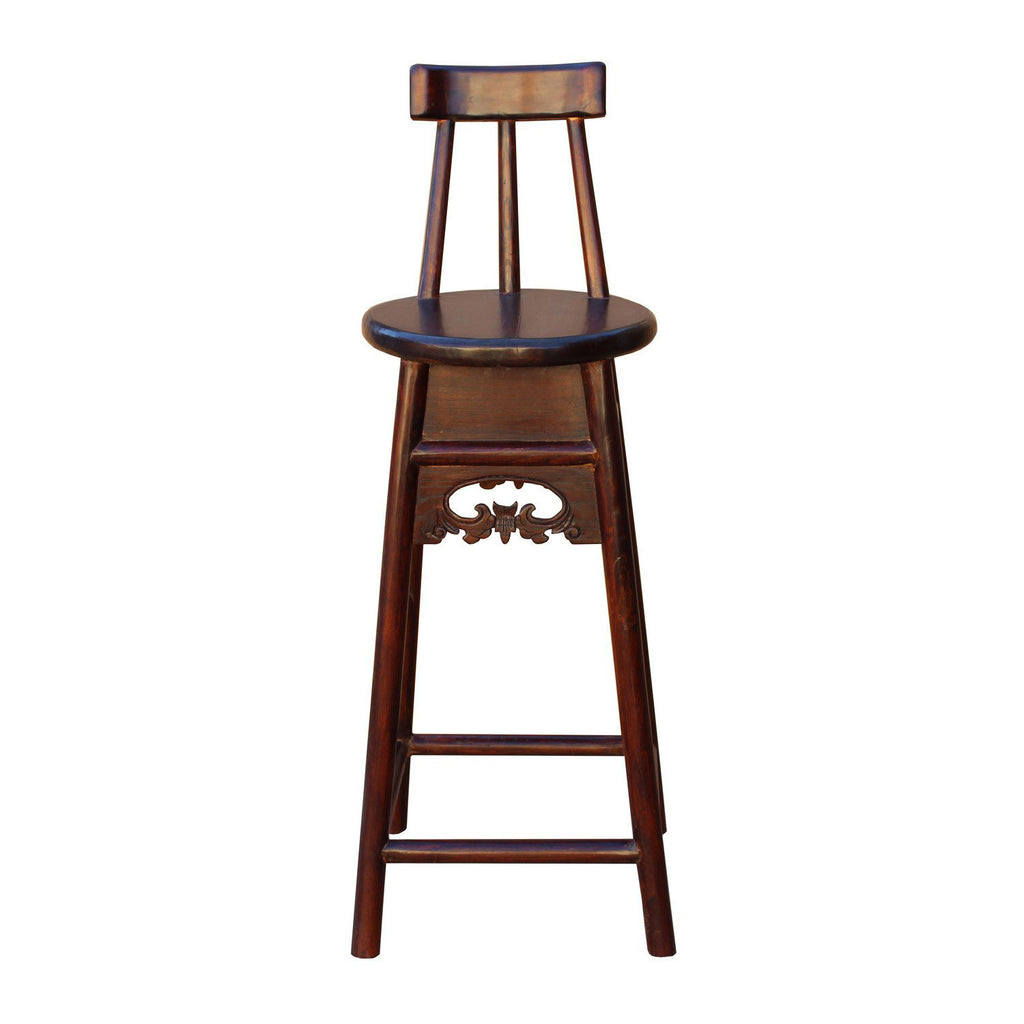 Terrific Quality Handmade Chinese Dark Brown Solid Elm Wood Bar Stool With Back Wk2592S Lamtechconsult Wood Chair Design Ideas Lamtechconsultcom