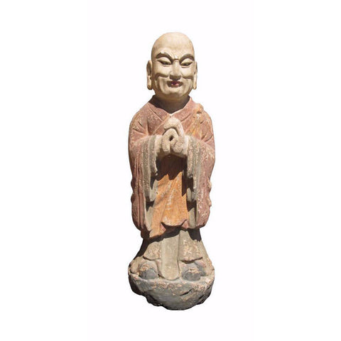 wood monk statue