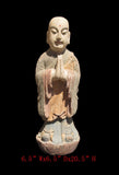 Chinese Antique Standing Monk Wood Hand Carving Statue wk2869s