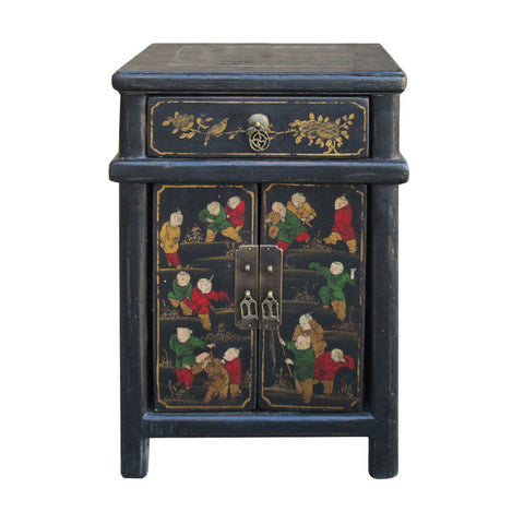 Cao Zhou Antique Happiness Kids Nightstand End Table Cabinet wk2944S