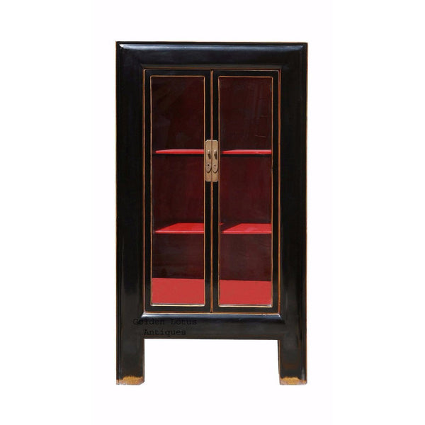 Tall Heavy Wood Black Lacquer Red Interior Glass Door