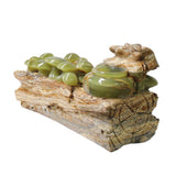 Natural Stone Carved Snail Mushroom on Wood Fengshui Display Figure ws1012S