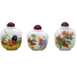 Three White Glass Print Oriental Graphic Snuff Bottle Lot ws101S
