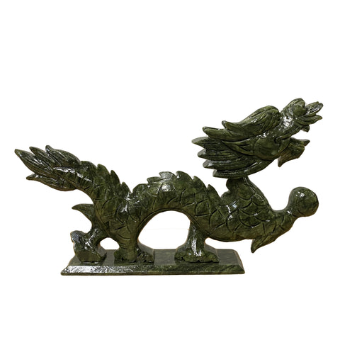 Chinese Green Stone Carved Dragon Fengshui Figure Small ws1041BS