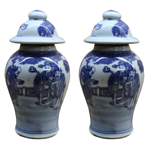 Lot of 2 Chinese Porcelain Blue & White Small Round Lid Jars