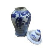 Lot of 2 Chinese Porcelain Blue & White Small Round Lid Jars ws106S