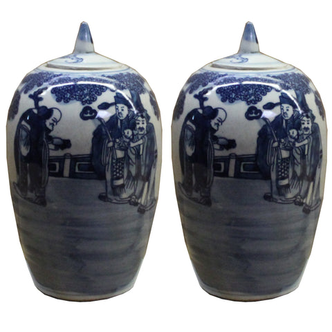 Lot of 2 Blue White Small Oriental Graphic Porcelain Point Lid Jars