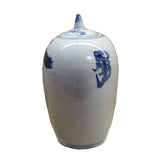 Lot of 2 Blue White Small Oriental Graphic Porcelain Point Lid Jars ws108S