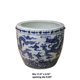 Chinese Off White Blue Glazed Dragon Graphic Porcelain Pot Planter ws1109S