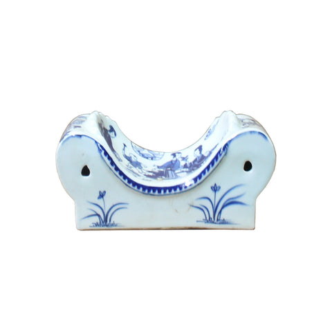 porcelain art - blue white display - ceramic pillow
