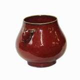 Chinese Deer Head Accent Flambé Red Glaze Vase Pot ws1129S