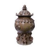 Chinese Ancient style Yellow Brown Ceremonial Jar with Relief Monster Motif ws1135S