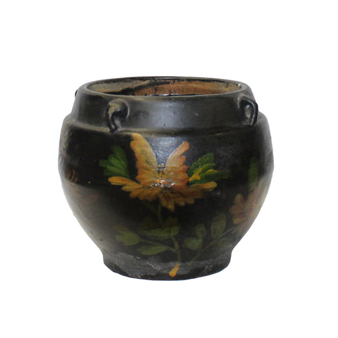 Chinese Ancient style Black Glaze Flower Graphic Ceramic Bowl Pot ws1136S