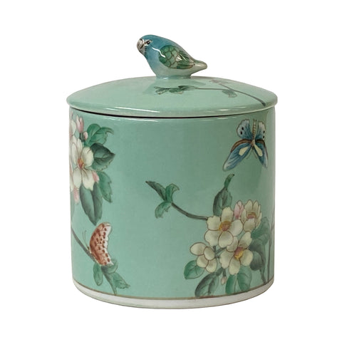 porcelain jar - flower bird - pair jar