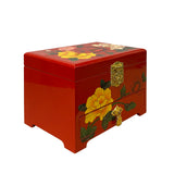 Chinese Oriental Red Lacquer Color Flower Mirror Jewelry Chest Box ws1198S