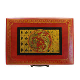 Chinese Handmade Red Vinyl Box Regular Size Mahjong Tiles Set ws120S