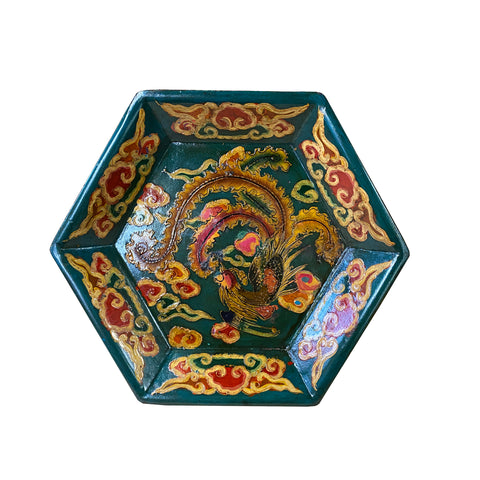 tray - tibetan phoenix - hexagon tray