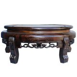 Chinese Brown Wood Round Table Top Stand Display Easel 12""