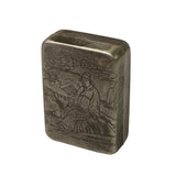 Chinese Handmade Metal Pewter Color Engraved Motif Trinket Box ws1344S