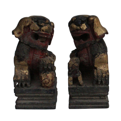 Pair Chinese Handcrafted Vintage Wood Fengshui Foo Dog Figures ws135S