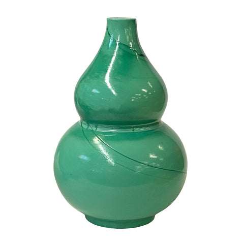 peking glass vase - turquoise glass vase - gourd shape vase