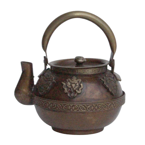 Chinese Metal Bronze Color Relief Motif Accent Teapot Display