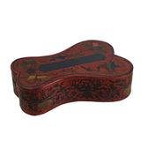 Chinese Distressed Red Lacquer Ribbon Shape Treasure Box ws149S