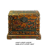 Chinese Distressed Yellow Red Dragon Graphic Trunk Box Chest ws155S