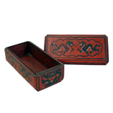 Chinese Distressed Red Lacquer Chinoiserie Rectangular Shape Treasure Box ws160S