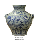 Chinese Small Blue White Porcelain Graphic Fat Body Vase Jar ws183S