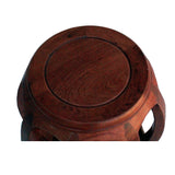 Chinese Oriental Brown Stain Wood Curved Barrel Shape Stool ws191S