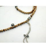 Handmade Cypress Wood Beads Metal Pendant Rosary Praying Necklace ws211S