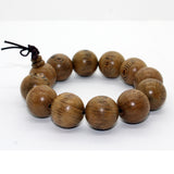 Jichimu Wood Light Brown Beads Hand Rosary Praying Bracelet ws228S