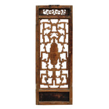 Chinese Vintage Light Brown Relief Motif Wood Wall Hanging Art ws245S