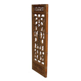 Chinese Vintage Light Brown Relief Motif Wood Wall Hanging Art ws246S