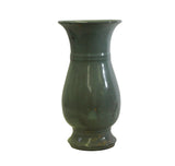 Chinese Ru Ware Light Celadon Green Gray Tone Ceramic Vase ws250S
