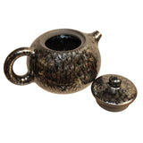 Chinese Handmade Jianye Clay Bronze Black Glaze Decor Teapot Display ws269S