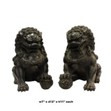 Pair Chinese Distressed Brown Black Marble Like Fengshui Foo Dogs ws287S