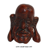Chinese Bamboo Carved Old Man Face Display ws299S