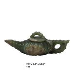 Chinese Jade Green Color Stone Carved Teapot Display Art ws314S