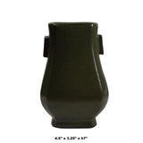 Chinese Handmade Dark Olive Army Green Ceramic Accent Vase ws328S