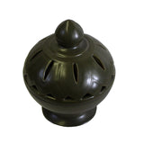 incense holder - olive green - oriental clay urn
