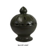 Chinese Handmade Dark Olive Army Green Ceramic Incense Holder ws329S